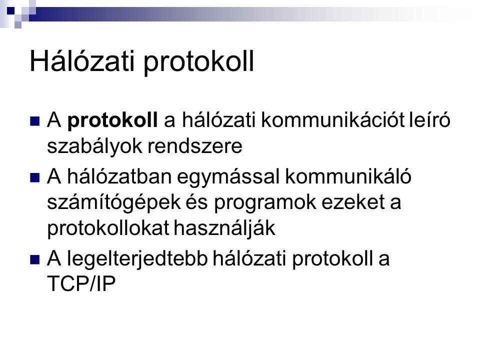 Hálózati protokoll A protokoll a hálózati kommunikációt leíró szabályok rendszere.