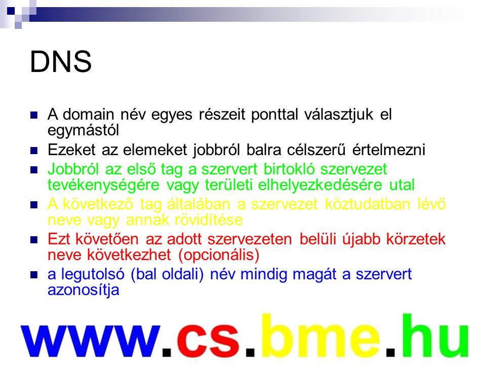 DNS A domain név egyes részeit ponttal választjuk el egymástól