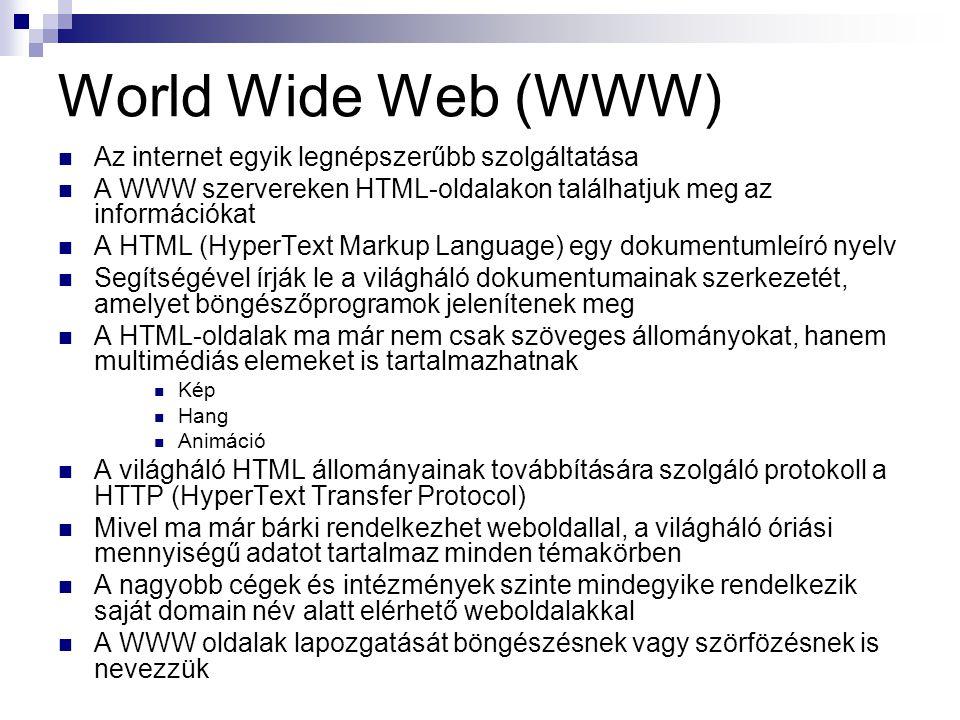 World Wide Web (WWW) Az internet egyik legnépszerűbb szolgáltatása