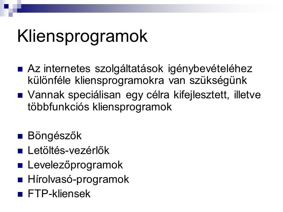 Kliensprogramok Az internetes szolgáltatások igénybevételéhez különféle kliensprogramokra van szükségünk.