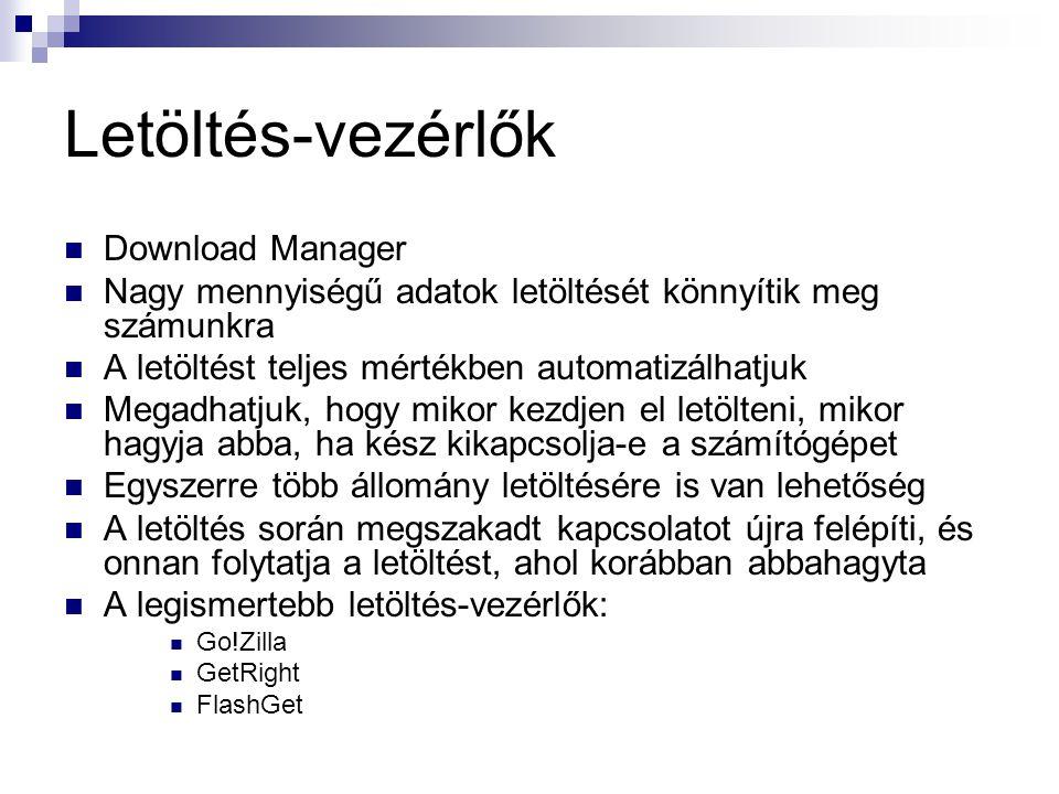Letöltés-vezérlők Download Manager