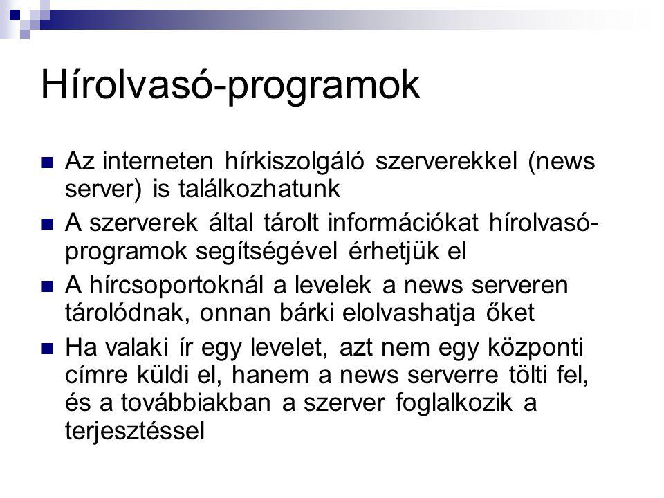 Hírolvasó-programok Az interneten hírkiszolgáló szerverekkel (news server) is találkozhatunk.