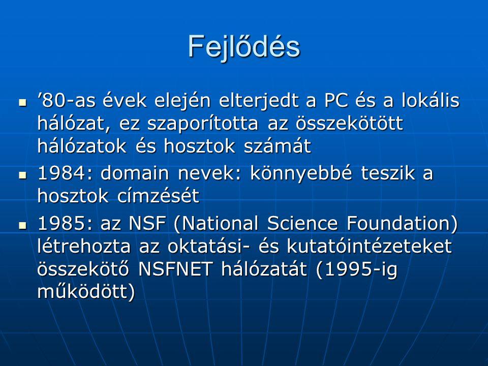 Fejlődés '80-as évek elején elterjedt a PC és a lokális hálózat, ez szaporította az összekötött hálózatok és hosztok számát.