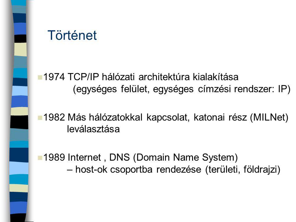 Történet 1974 TCP/IP hálózati architektúra kialakítása (egységes felület, egységes címzési rendszer: IP)