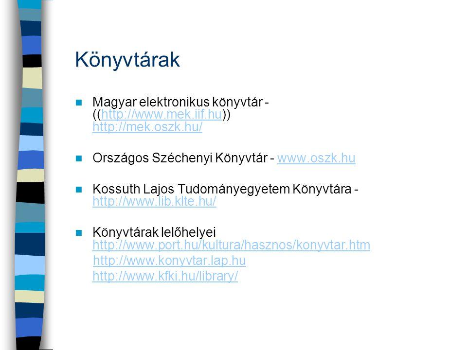 Könyvtárak Magyar elektronikus könyvtár - ((http://www.mek.iif.hu)) http://mek.oszk.hu/ Országos Széchenyi Könyvtár - www.oszk.hu.