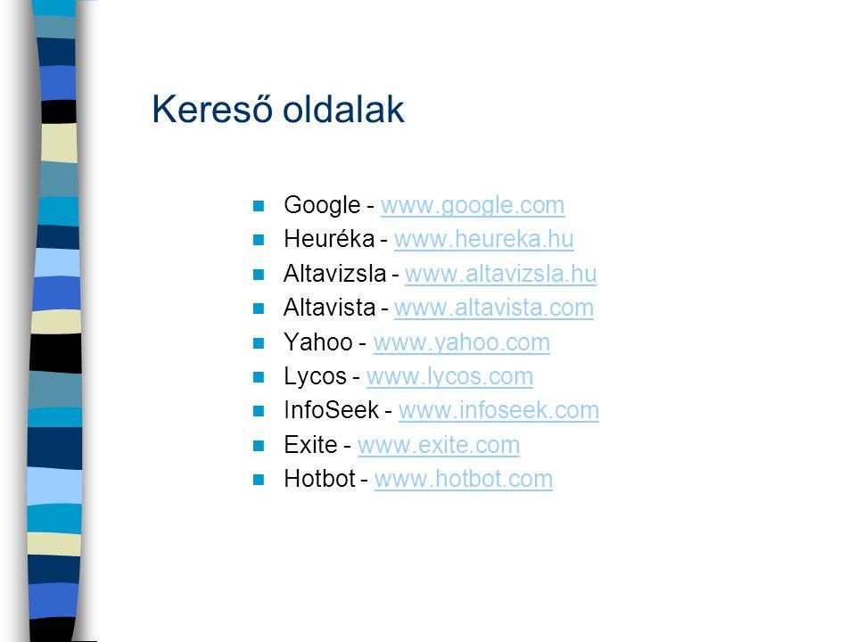 Kereső oldalak Google - www.google.com Heuréka - www.heureka.hu