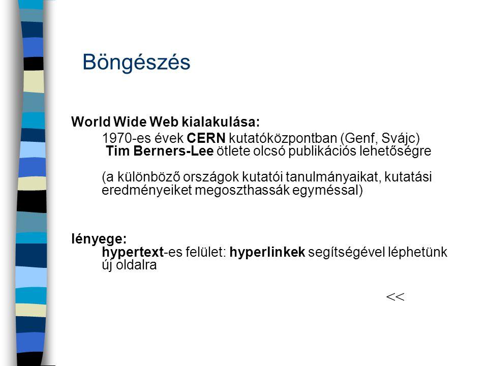 Böngészés << World Wide Web kialakulása: