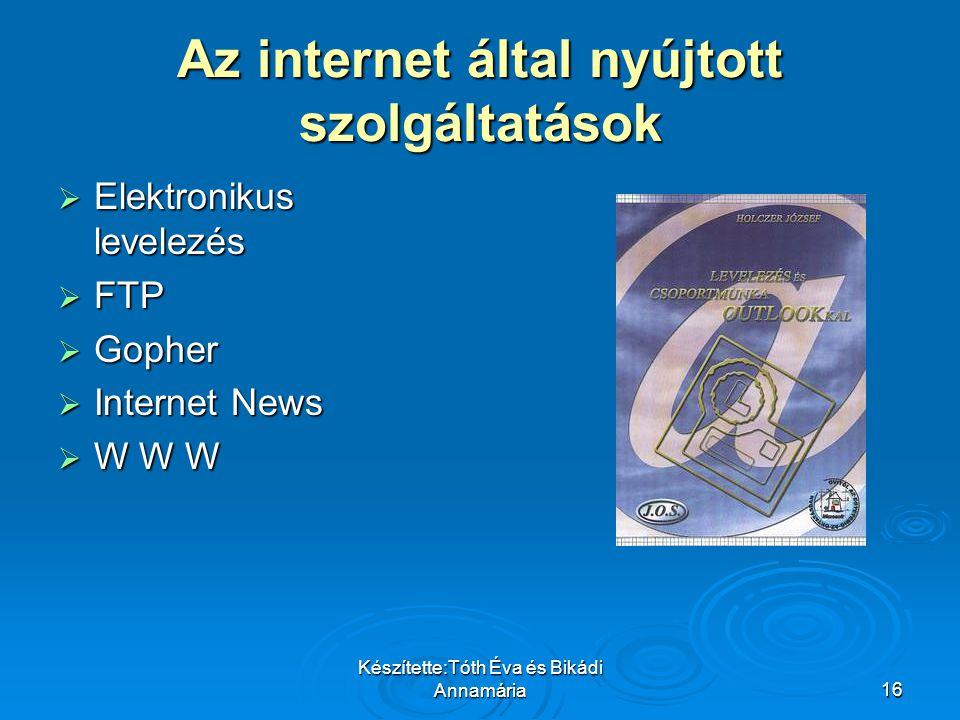 Az internet által nyújtott szolgáltatások