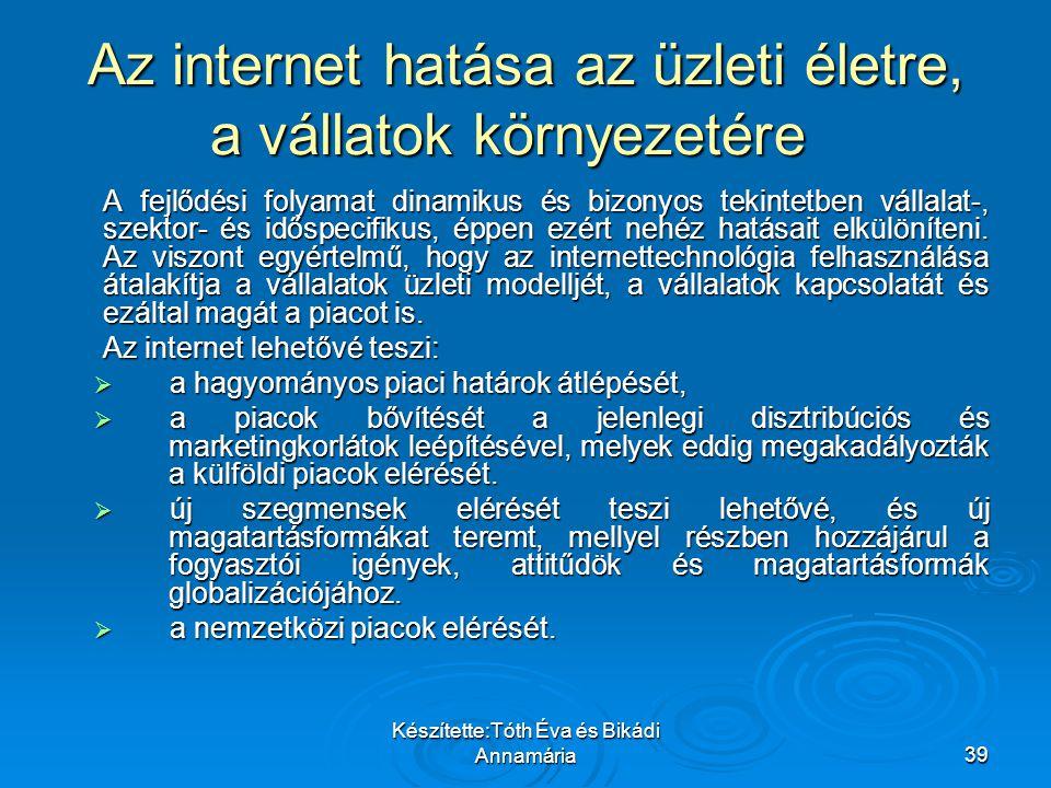Az internet hatása az üzleti életre, a vállatok környezetére