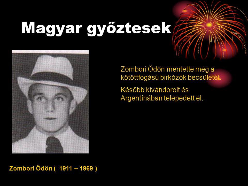 Magyar győztesek Zombori Ödön mentette meg a kötöttfogású birkózók becsületét. Később kivándorolt és Argentínában telepedett el.