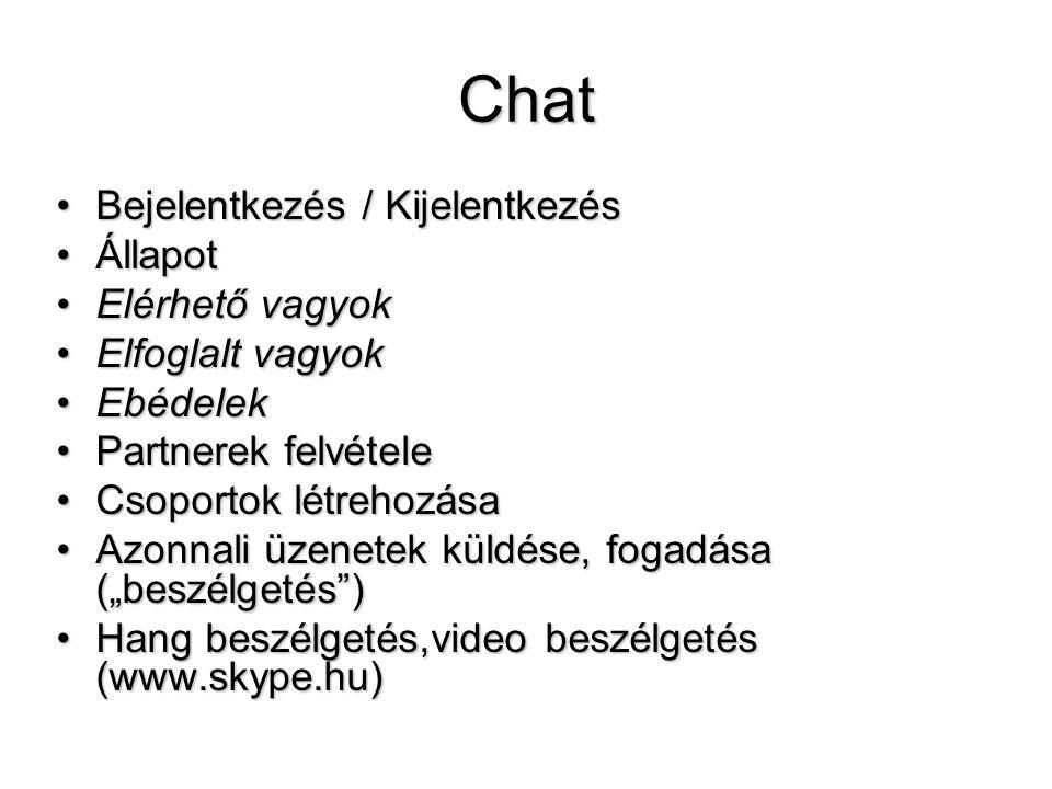 Chat Bejelentkezés / Kijelentkezés Állapot Elérhető vagyok