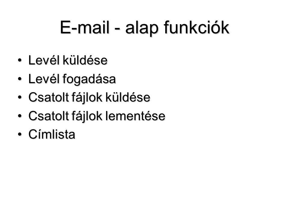 E-mail - alap funkciók Levél küldése Levél fogadása
