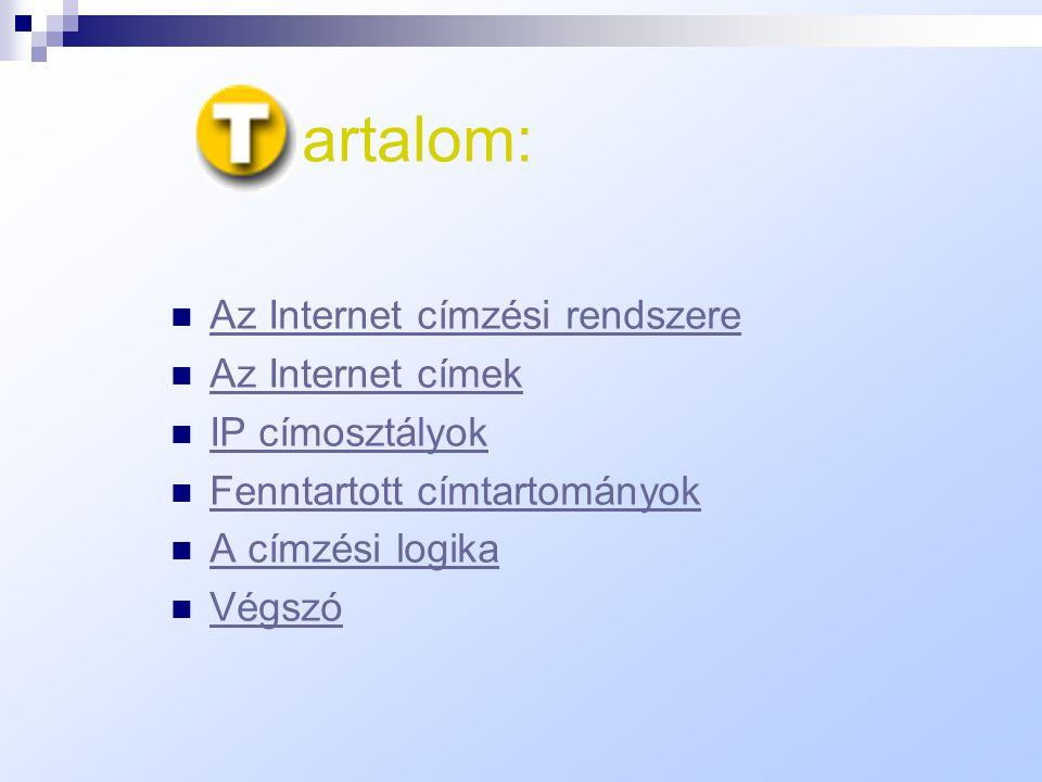artalom: Az Internet címzési rendszere Az Internet címek