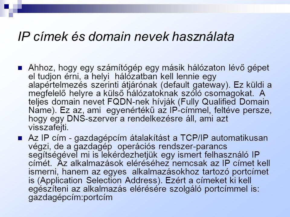 IP címek és domain nevek használata