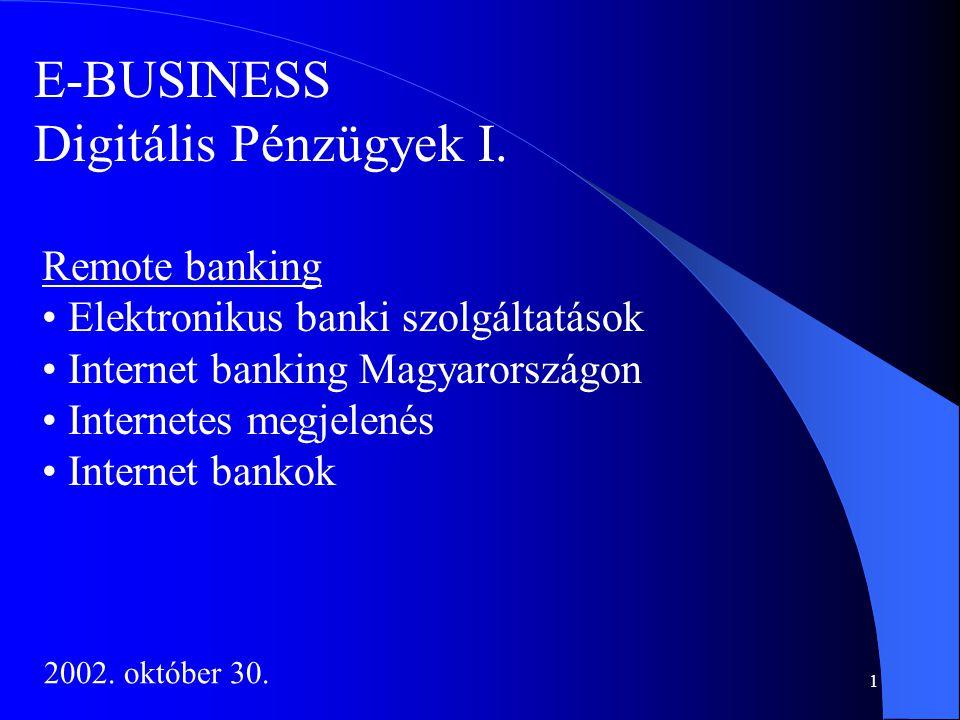 E-BUSINESS Digitális Pénzügyek I. Remote banking