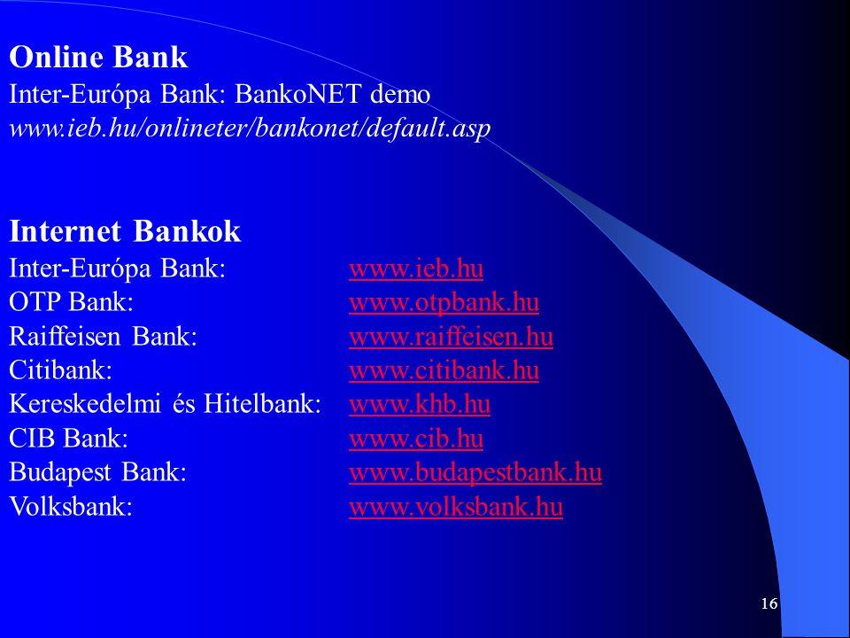 Online Bank Internet Bankok Inter-Európa Bank: BankoNET demo
