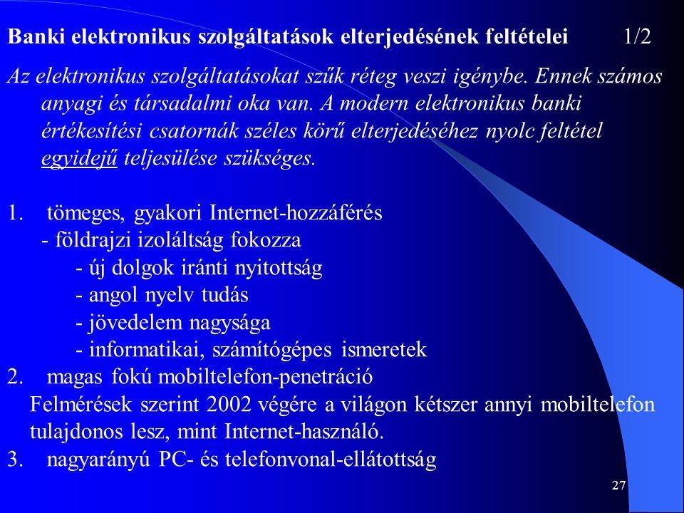 Banki elektronikus szolgáltatások elterjedésének feltételei 1/2