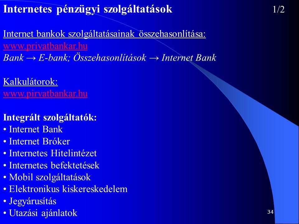 Internetes pénzügyi szolgáltatások 1/2