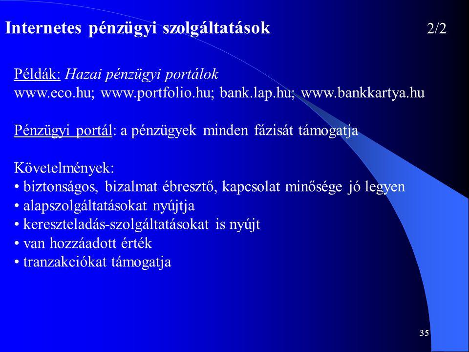 Internetes pénzügyi szolgáltatások 2/2