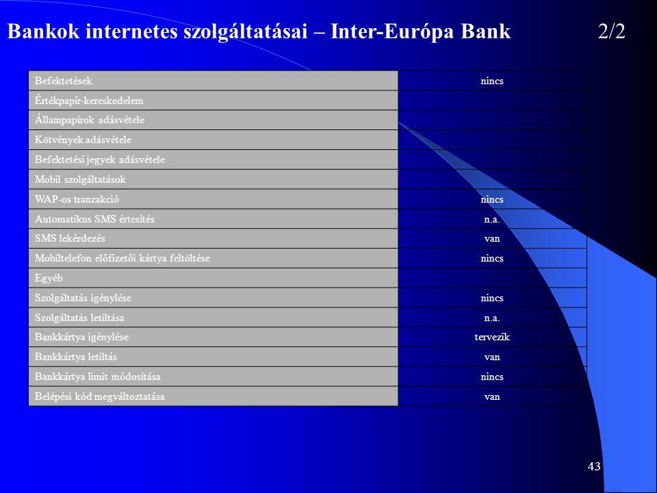 Bankok internetes szolgáltatásai – Inter-Európa Bank 2/2