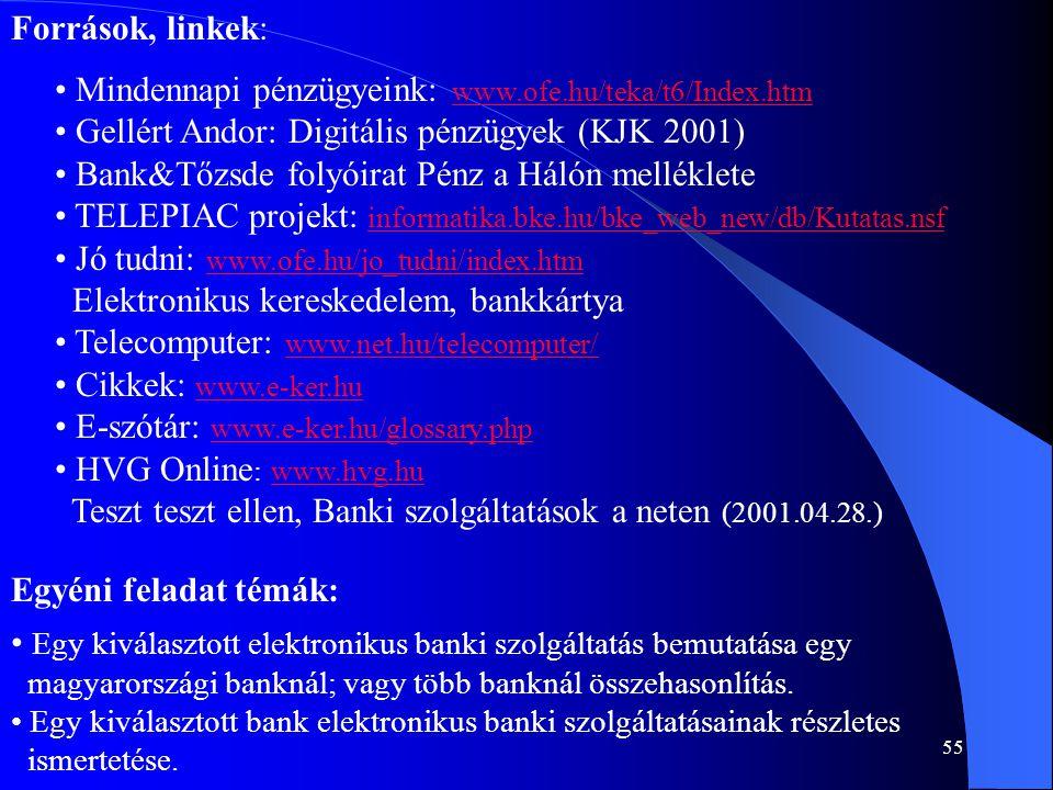 Mindennapi pénzügyeink: www.ofe.hu/teka/t6/Index.htm