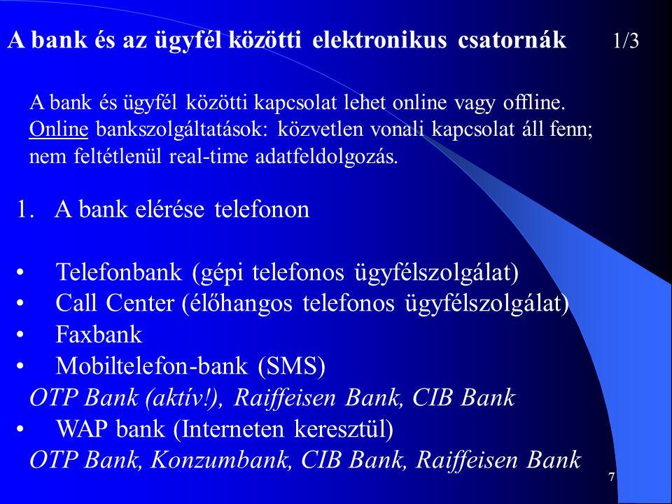 A bank és az ügyfél közötti elektronikus csatornák 1/3