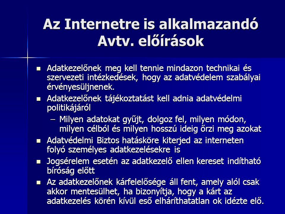 Az Internetre is alkalmazandó Avtv. előírások