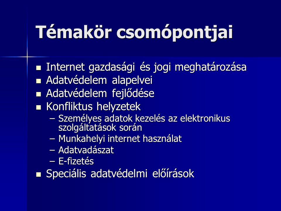 Témakör csomópontjai Internet gazdasági és jogi meghatározása