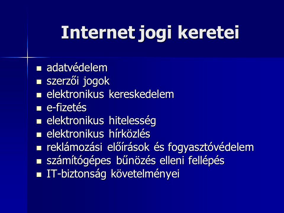 Internet jogi keretei adatvédelem szerzői jogok