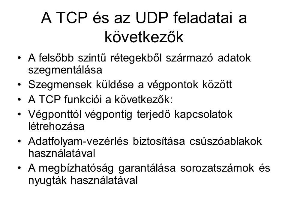 A TCP és az UDP feladatai a következők