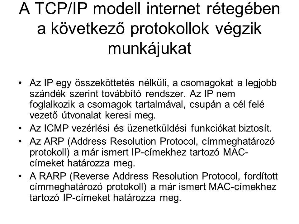 A TCP/IP modell internet rétegében a következő protokollok végzik munkájukat
