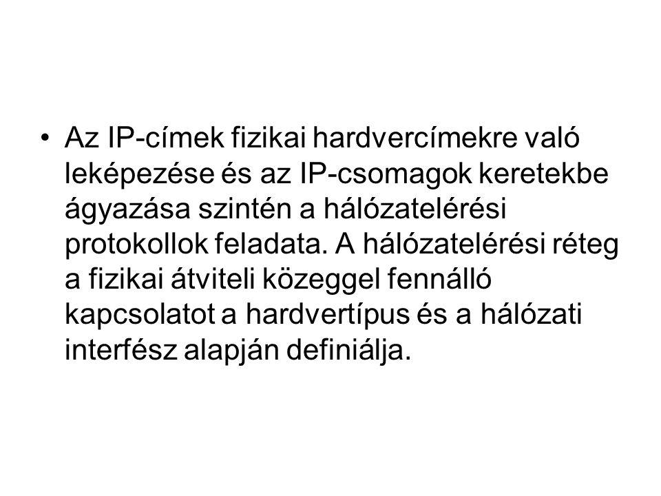 Az IP-címek fizikai hardvercímekre való leképezése és az IP-csomagok keretekbe ágyazása szintén a hálózatelérési protokollok feladata.