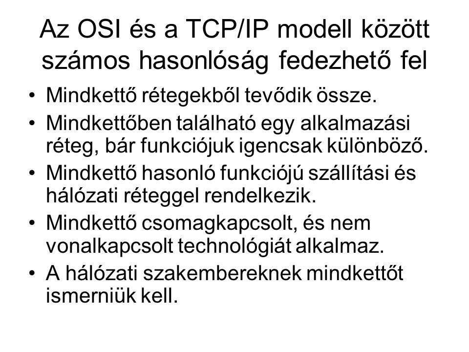 Az OSI és a TCP/IP modell között számos hasonlóság fedezhető fel