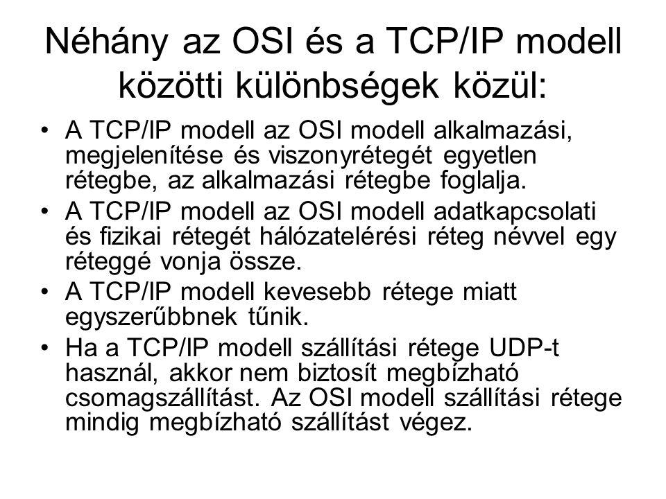 Néhány az OSI és a TCP/IP modell közötti különbségek közül: