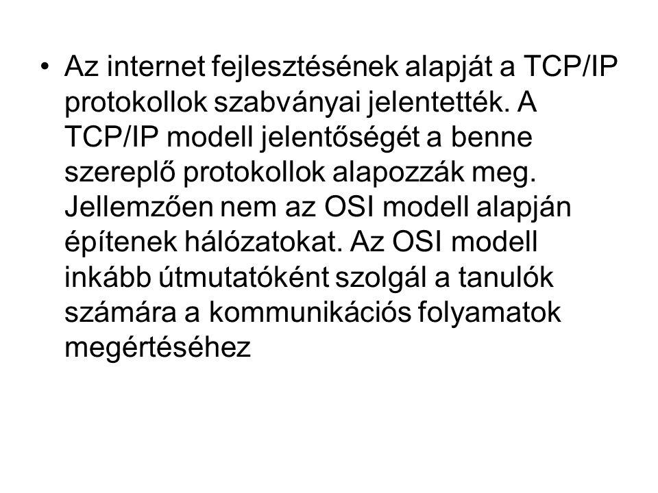 Az internet fejlesztésének alapját a TCP/IP protokollok szabványai jelentették.