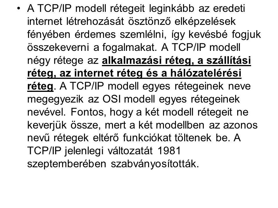 A TCP/IP modell rétegeit leginkább az eredeti internet létrehozását ösztönző elképzelések fényében érdemes szemlélni, így kevésbé fogjuk összekeverni a fogalmakat.