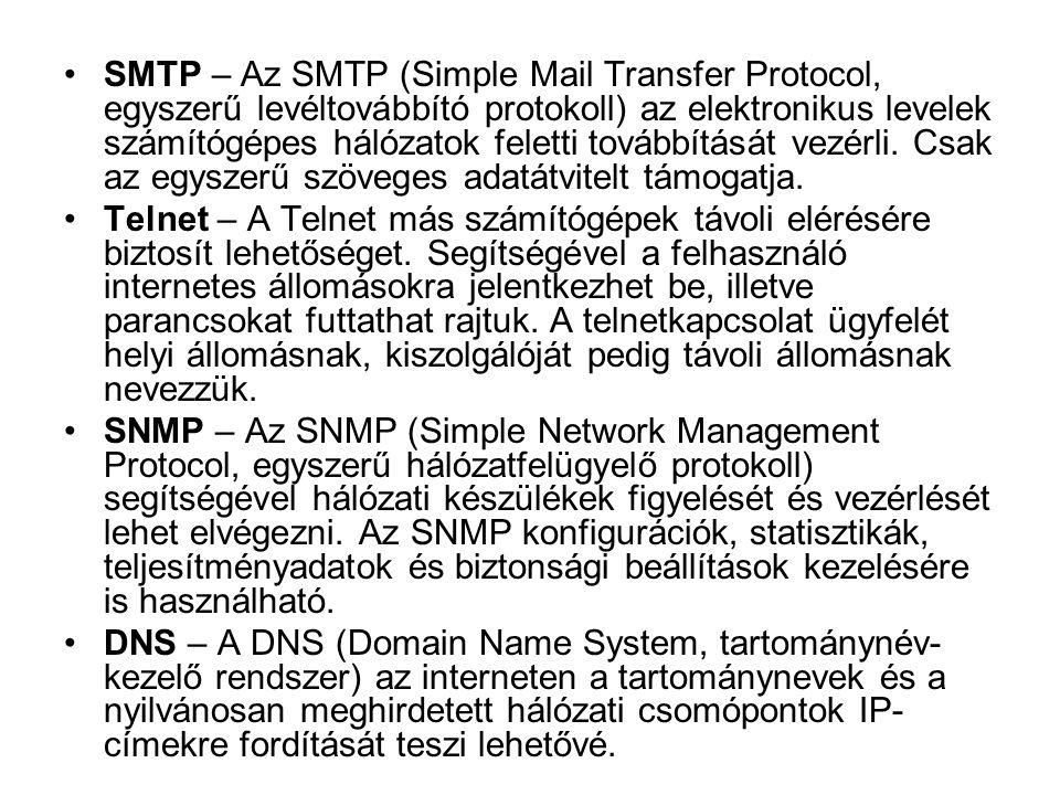 SMTP – Az SMTP (Simple Mail Transfer Protocol, egyszerű levéltovábbító protokoll) az elektronikus levelek számítógépes hálózatok feletti továbbítását vezérli. Csak az egyszerű szöveges adatátvitelt támogatja.