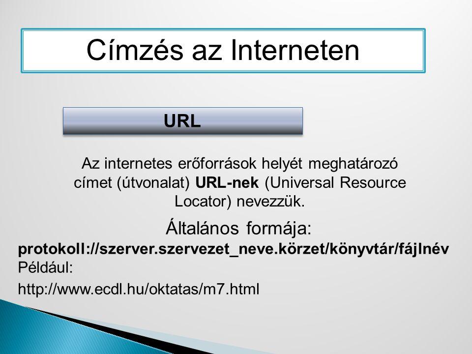 Címzés az Interneten URL Általános formája: