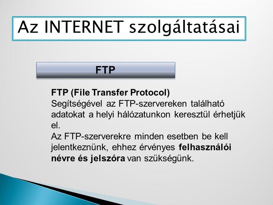 Az INTERNET szolgáltatásai