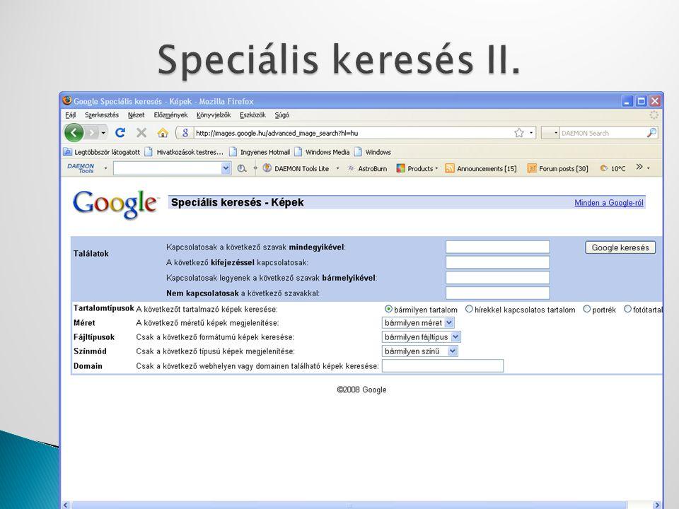 Speciális keresés II.
