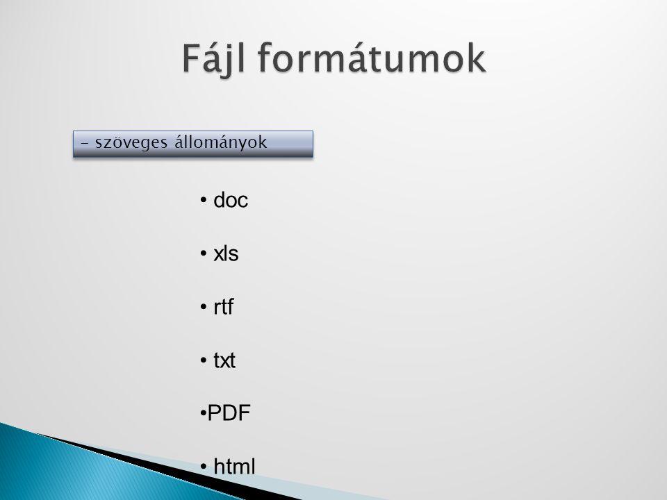 Fájl formátumok - szöveges állományok doc xls rtf txt PDF html
