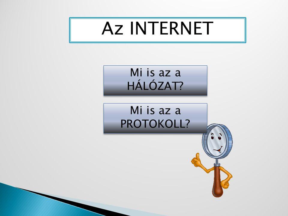 Az INTERNET Mi is az a HÁLÓZAT Mi is az a PROTOKOLL