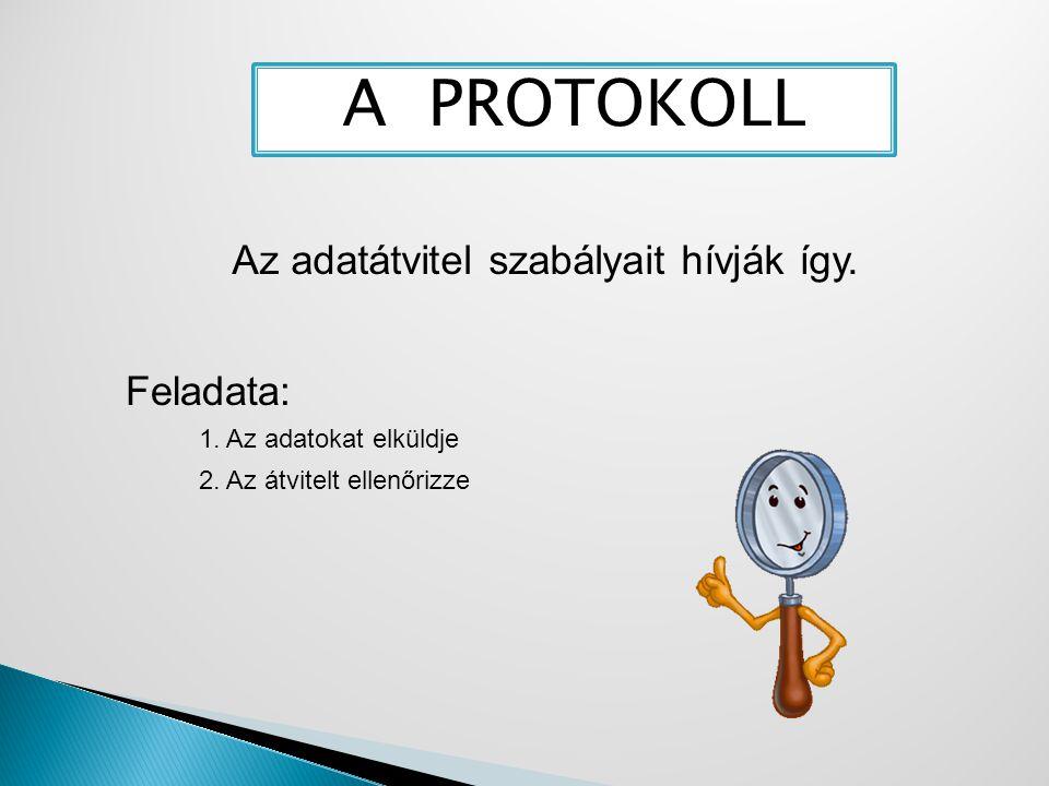 A PROTOKOLL Az adatátvitel szabályait hívják így. Feladata: