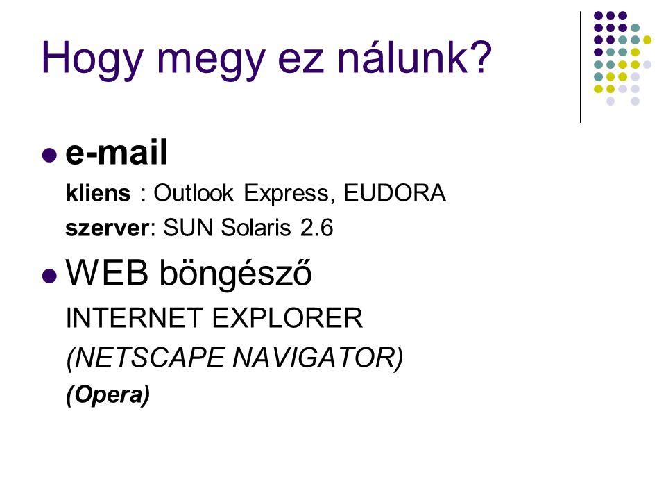 Hogy megy ez nálunk e-mail WEB böngésző INTERNET EXPLORER