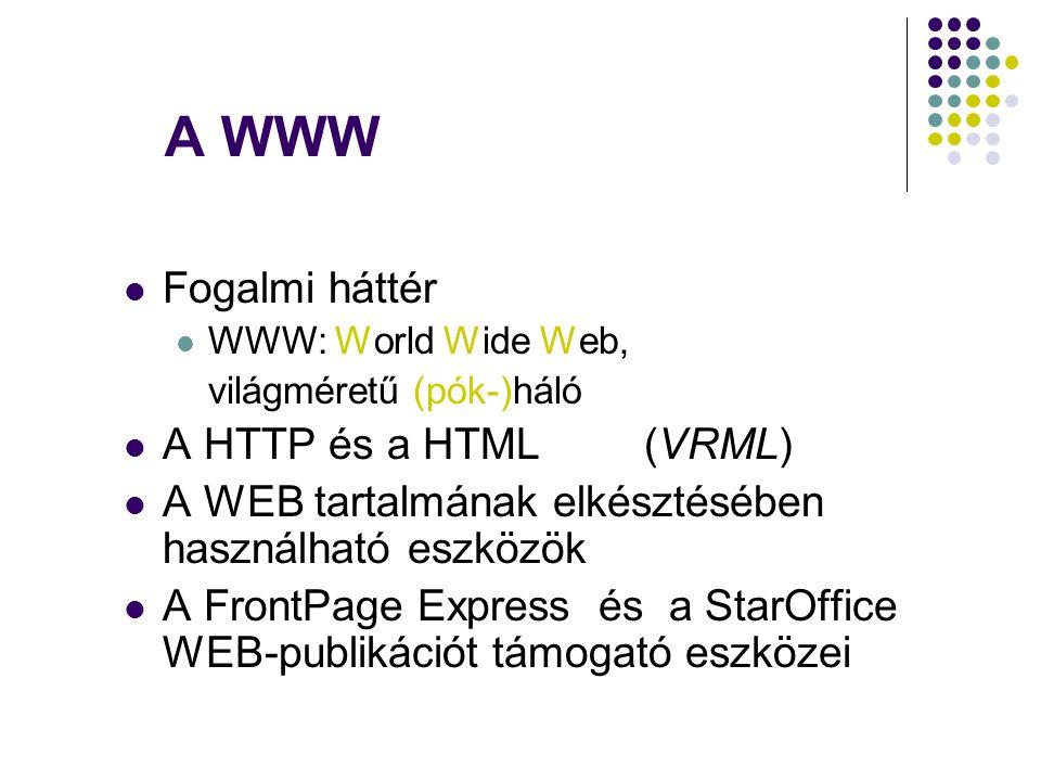 A WWW Fogalmi háttér A HTTP és a HTML (VRML)