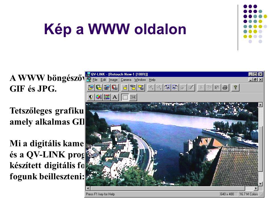 Kép a WWW oldalon A WWW böngészővel megjeleníthető képek formátumai: