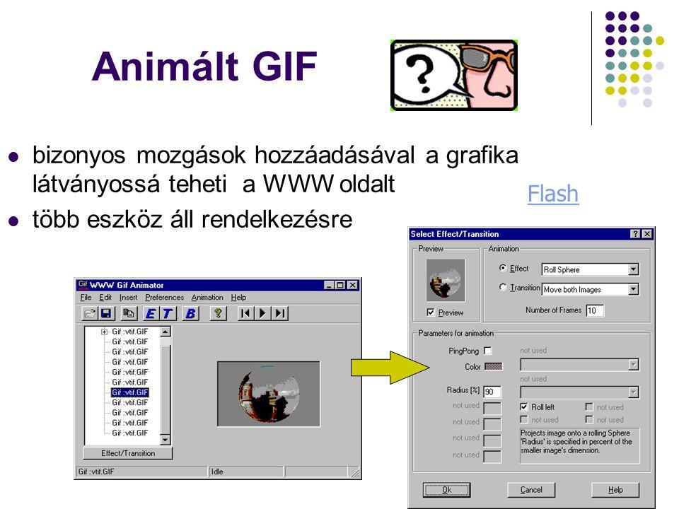Animált GIF bizonyos mozgások hozzáadásával a grafika látványossá teheti a WWW oldalt. több eszköz áll rendelkezésre.