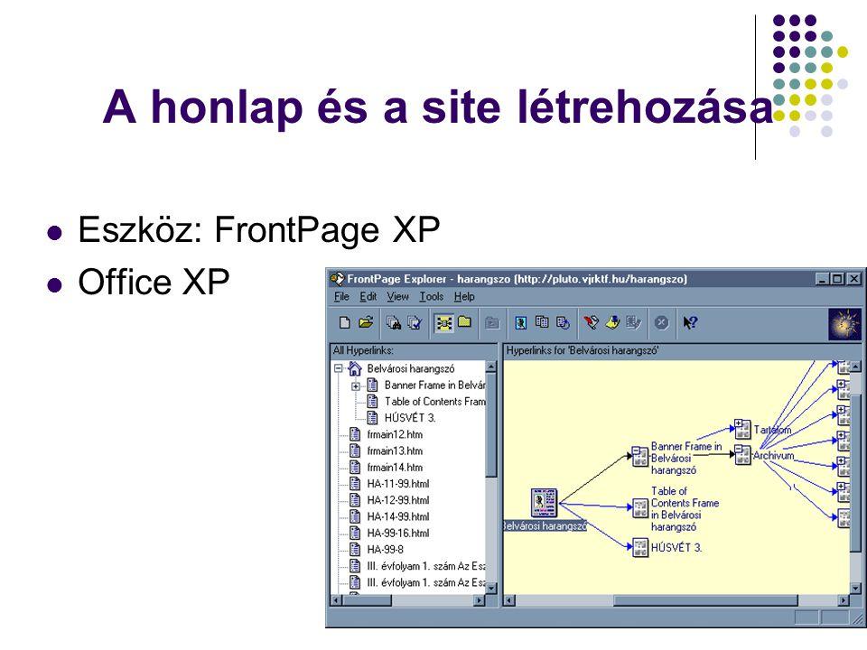 A honlap és a site létrehozása