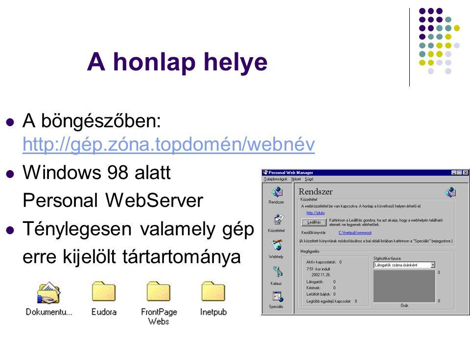 A honlap helye A böngészőben: http://gép.zóna.topdomén/webnév