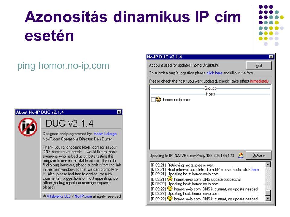 Azonosítás dinamikus IP cím esetén